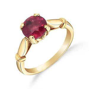 14K. SOLID GOLD SOLITAIRE RING WITH NATURAL RUBY